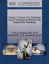 Carter V. Carusi U.S. Supreme Court Transcript of Record with Supporting Pleadings
