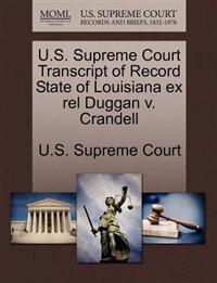 U.S. Supreme Court Transcript of Record State of Louisiana Ex Rel Duggan V. Crandell
