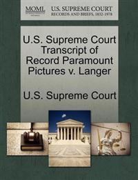 U.S. Supreme Court Transcript of Record Paramount Pictures V. Langer