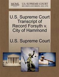 U.S. Supreme Court Transcript of Record Forsyth V. City of Hammond