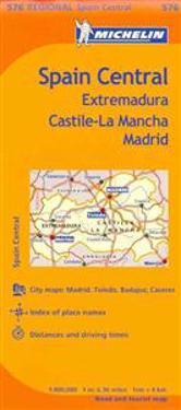 Michelin Spain: Central, Extremadura, Castilla-La Mancha, Madrid Map 576