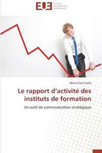 Le rapport d'activité des instituts de formation
