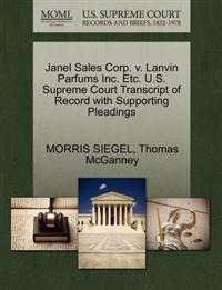 Janel Sales Corp. V. Lanvin Parfums Inc. Etc. U.S. Supreme Court Transcript of Record with Supporting Pleadings