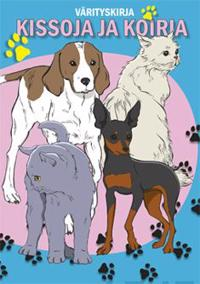 Kissoja ja koiria värityskirja