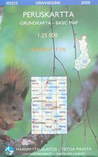 Maastokartta N5223 Oravikoski peruskartta 1:25 000