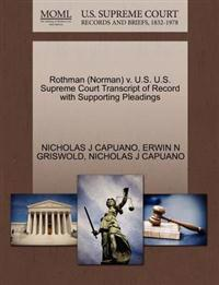 Rothman (Norman) V. U.S. U.S. Supreme Court Transcript of Record with Supporting Pleadings