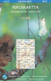 Peruskartta L4412 Kaukalampi 1:25 000