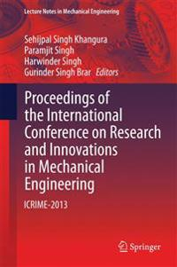 Proceedings of the International Conference on Research and Innovations in Mechanical Engineering