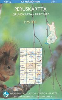 Maastokartta N4412 Kyynämöinen peruskartta, 1:25 000