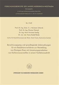 Berechnungsgang Und Grundlegende Untersuchungen Für Ein Reduktionsverfahren Zur Herstellung Von Flüssigem Eisen Mit Umsetzungsprodukten Von Kohlenwasserstoffen in Einem Verfahrensschritt