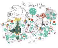 Girl and Dog Thank You Cards [With 12 Envelopes]