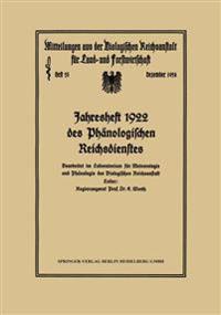 Jahresheft 1922 Des Phanologischen Reichsdienstes