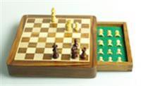 Schackbräde i padaukträ med låda