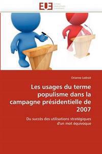 Les Usages Du Terme Populisme Dans La Campagne Pr�sidentielle de 2007
