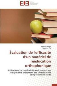 �valuation de l'Efficacit� D Un Mat�riel de R��ducation Orthophonique