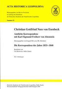 Christian Gottfried Nees von Esenbeck. Amtliche Korrespondenz mit Karl Sigmund Freiherr von Altenstein