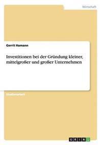 Investitionen Bei Der Grundung Kleiner, Mittelgrosser Und Grosser Unternehmen