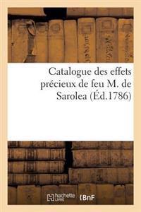 Catalogue Des Effets Precieux de Feu M. de Sarolea