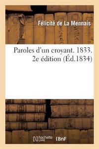 Paroles D'Un Croyant. 1833. 2e Edition