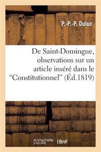 de Saint-Domingue, Observations Sur Un Article Insere Dans Le Constitutionnel, Le 31 Aout 1819