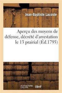 Apercu Des Moyens de Defense, Decrete D'Arrestation Le 13 Prairial, L'An 3 de la Republique