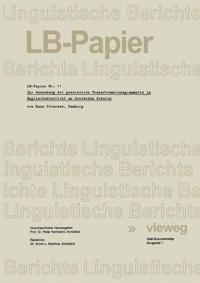 Zur Anwendung Der Generativen Transformationsgrammatik Im Englischunterricht an Deutschen Schulen