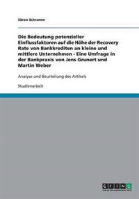 Potenzielle Einflussfaktoren Auf Die Hohe Der Recovery Rate Von Bankkrediten an Kmu