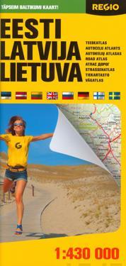 Viro, Latvia, Liettua tiekartta,   1:430 000