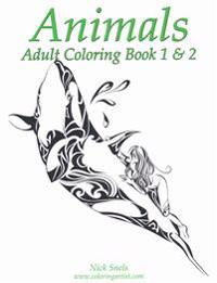 Animals Adult Coloring Book 1 & 2