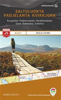Outdoorkartan Saltoluokta Padjelanta Kvikkjokk : Blad 3 Skala 1:75000