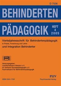 Behindertenpadagogik - Vierteljahresschrift Fur Behindertenpadagogik Und Integration Behinderter in Praxis, Forschung Und Lehre