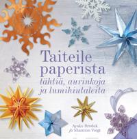 Taiteile paperista tähtiä, aurinkoja ja lumihiutaleita