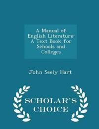 A Manual of English Literature