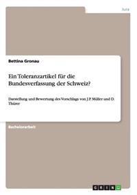 Ein Toleranzartikel Fur Die Bundesverfassung Der Schweiz?