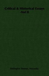 Critical & Historical Essays