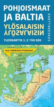 Pohjoismaat ja Baltia ylösalaisin yleiskartta 1:2 700 000 (70x80 cm)