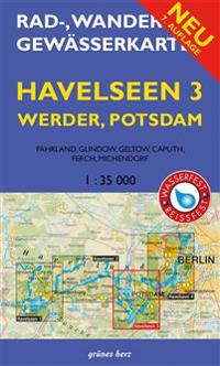 Rad-, Wander- und Gewässerkarte Havelseen 3: Werder, Potsdam 1 : 35 000