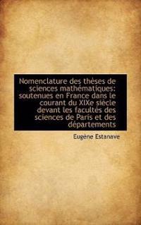 Nomenclature Des Th Ses de Sciences Math Matiques