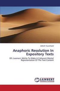 Anaphoric Resolution in Expository Texts