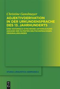 Adjektivderivation in der Urkundensprache des 13. Jahrhunderts