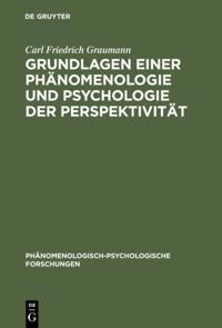 Grundlagen einer Phanomenologie und Psychologie der Perspektivitat