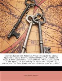 Dictionnaire Des Alimens, Vins Et Liqueurs: Leurs Qualite's, Leurs Effets, Relativement Aux Différens Âges, & Aux Différens Tempéramens : Avec La Mani