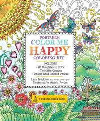 Portable Color Me Happy Coloring Kit: Includes Book, Colored Pencils and Twistable Crayons [With Pens/Pencils]