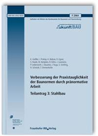 Verbesserung der Praxistauglichkeit der Baunormen durch pränormative Arbeit - Teilantrag 3: Stahlbau. Abschlussbericht.