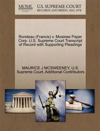 Rondeau (Francis) V. Mosinee Paper Corp. U.S. Supreme Court Transcript of Record with Supporting Pleadings
