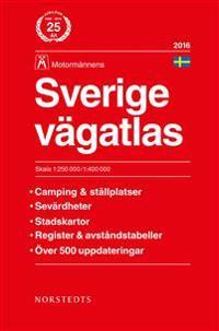 Sverige vägatlas 2016 Motormännens : 1:250000-1:400000