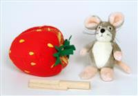 Plush Strawberry and Wooden Knife