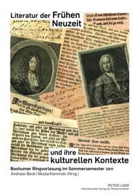 Literatur der Fruhen Neuzeit und ihre kulturellen Kontexte
