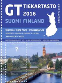 GT tiekartasto Suomi 2016, 1:200 000/1:250 000/1:100 000 (+Autoilijan ensiapuohjeet)