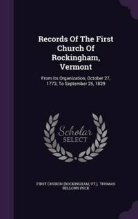 Records of the First Church of Rockingham, Vermont